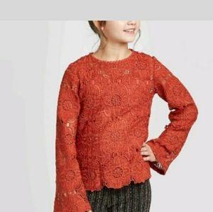 Art class rust lace top long sleeve xxl